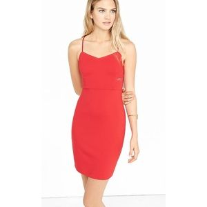Express Red Lace Inset Cut Out Cami Dress Size 2